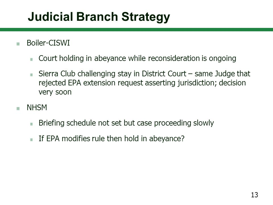 Boiler-CISWI Court holding in abeyance while reconsideration is ongoing Sierra Club challenging stay in District Court – same Judge that rejected EPA extension request asserting jurisdiction; decision very soon NHSM Briefing schedule not set but case proceeding slowly If EPA modifies rule then hold in abeyance.