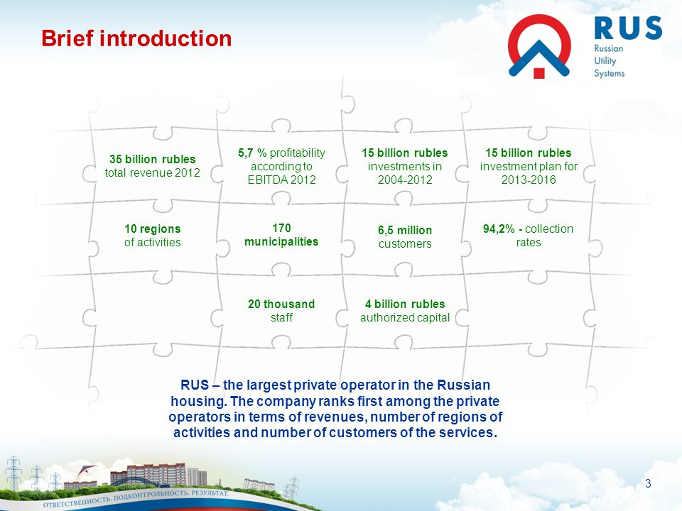 4 Geography of activity: FOR THE COMFORT OF MILLION PEOPLE RUS works in 10 regions, about one hundred and seventy municipalities, mainly in the European part of Russia.