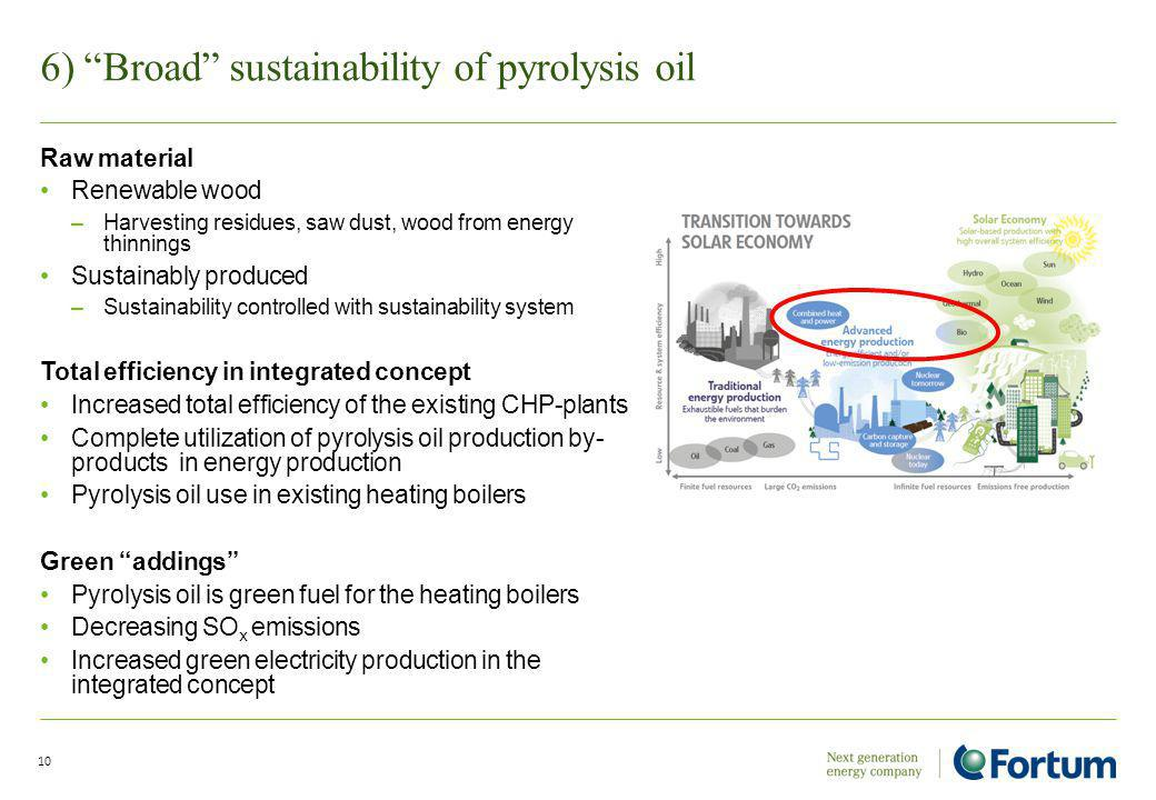 6) Broad sustainability of pyrolysis oil 10 Raw material Renewable wood –Harvesting residues, saw dust, wood from energy thinnings Sustainably produced –Sustainability controlled with sustainability system Total efficiency in integrated concept Increased total efficiency of the existing CHP-plants Complete utilization of pyrolysis oil production by- products in energy production Pyrolysis oil use in existing heating boilers Green addings Pyrolysis oil is green fuel for the heating boilers Decreasing SO x emissions Increased green electricity production in the integrated concept