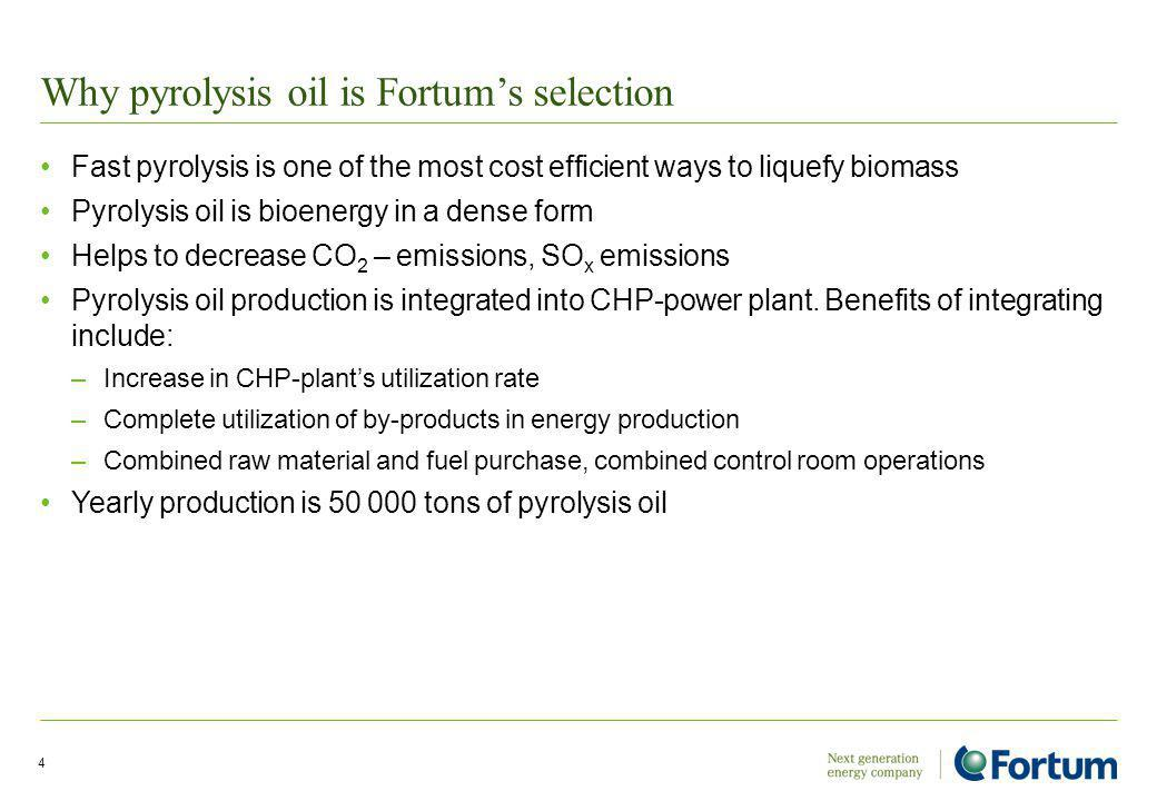 Why pyrolysis oil is Fortums selection Fast pyrolysis is one of the most cost efficient ways to liquefy biomass Pyrolysis oil is bioenergy in a dense form Helps to decrease CO 2 – emissions, SO x emissions Pyrolysis oil production is integrated into CHP-power plant.