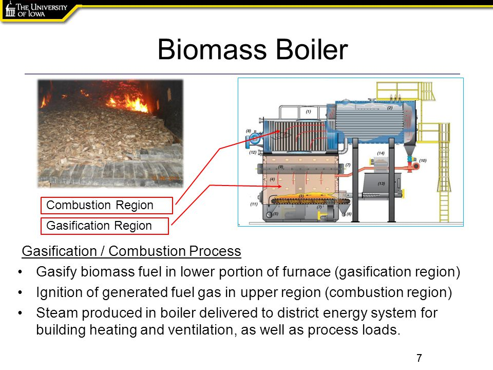 Click to edit the title text format 7 Biomass Boiler 7 Gasification / Combustion Process Gasify biomass fuel in lower portion of furnace (gasification region) Ignition of generated fuel gas in upper region (combustion region) Steam produced in boiler delivered to district energy system for building heating and ventilation, as well as process loads.