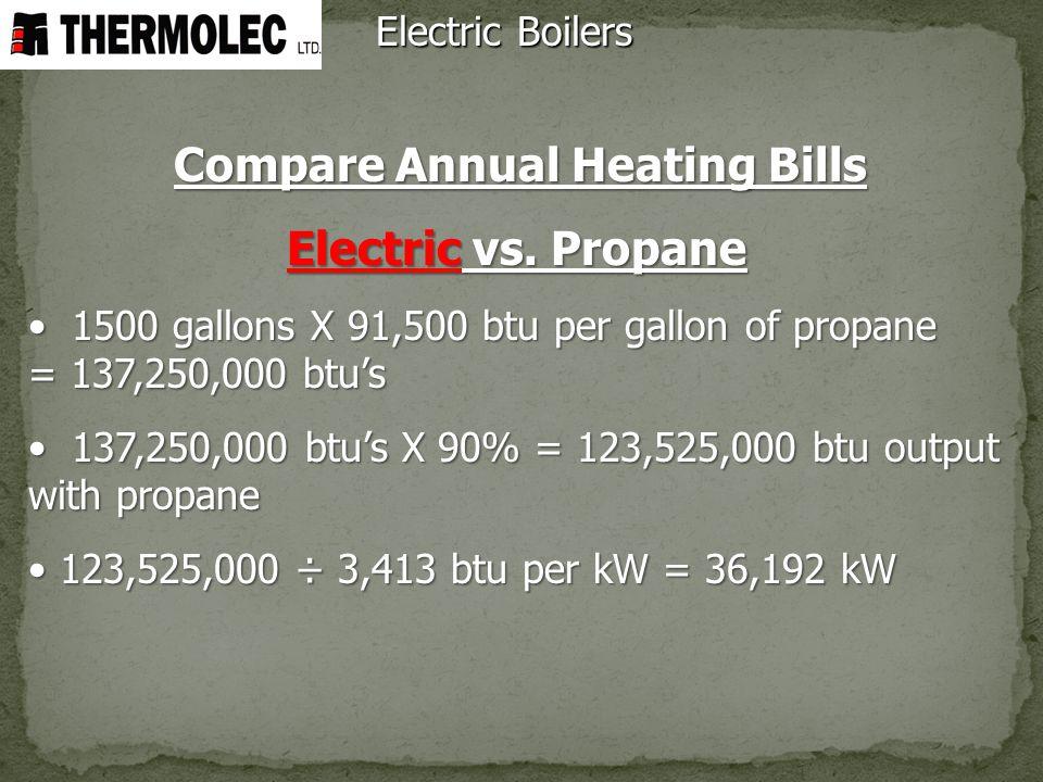 Electric Boilers Compare Annual Heating Bills Electric vs. Propane 1500 gallons X 91,500 btu per gallon of propane = 137,250,000 btus 1500 gallons X 9