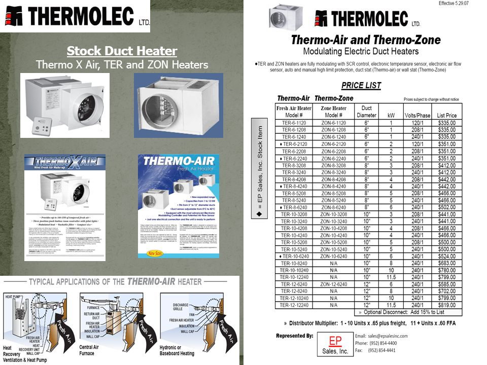 Stock Duct Heater Thermo X Air, TER and ZON Heaters