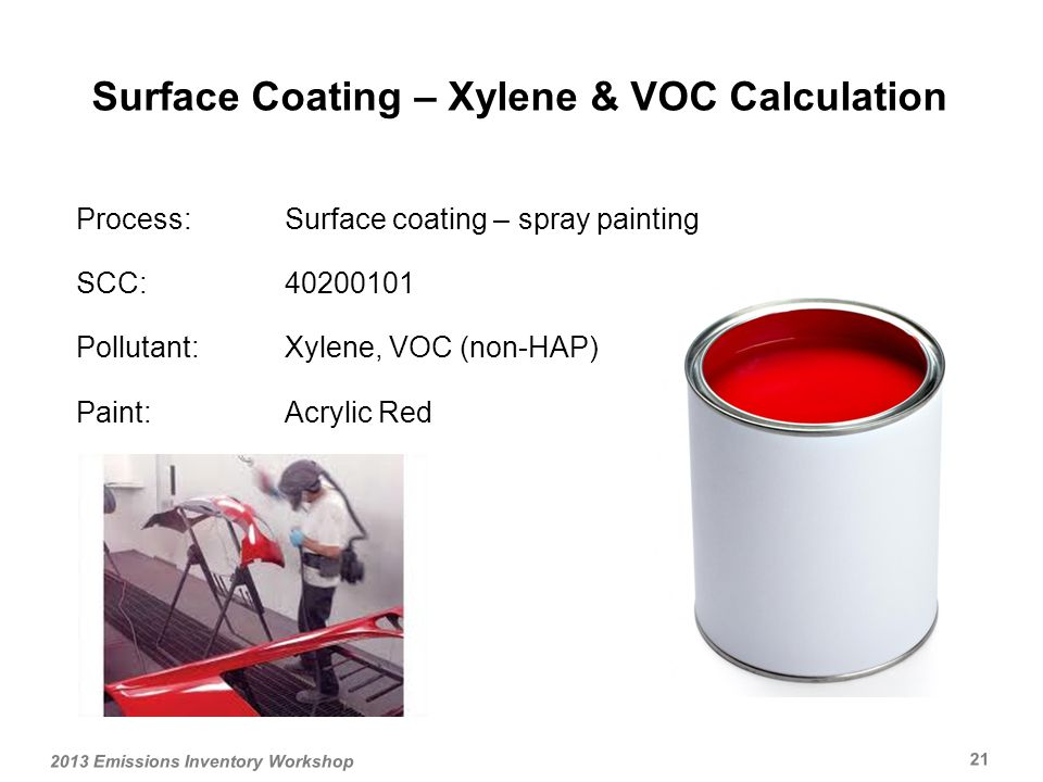 Process:Surface coating – spray painting SCC: Pollutant:Xylene, VOC (non-HAP) Paint:Acrylic Red Surface Coating – Xylene & VOC Calculation 2013 Emissions Inventory Workshop 21