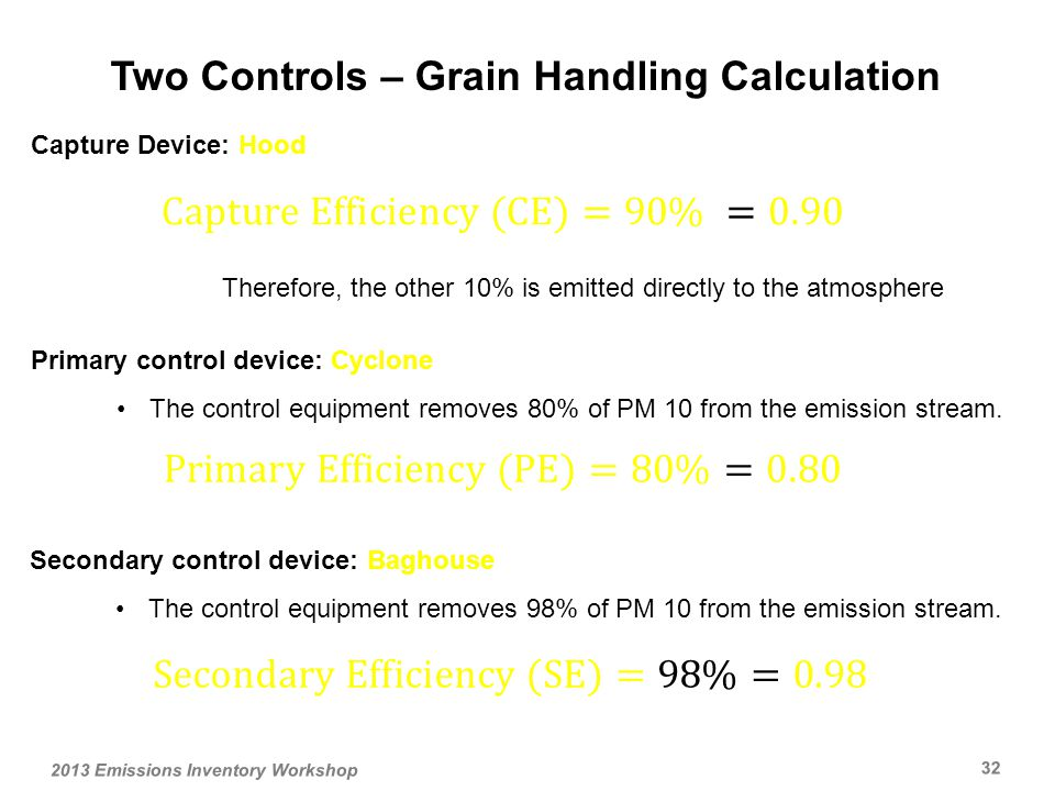 Capture Device: Hood Therefore, the other 10% is emitted directly to the atmosphere Secondary control device: Baghouse The control equipment removes 98% of PM 10 from the emission stream.