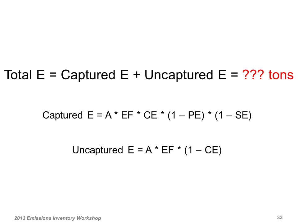 Total E = Captured E + Uncaptured E = .