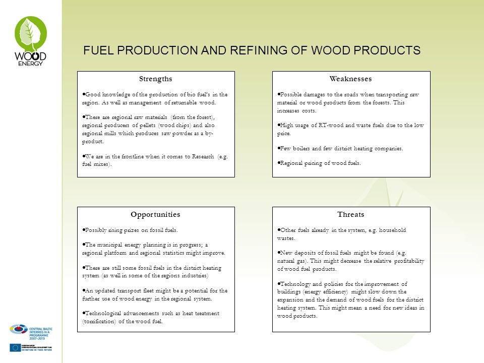 FUEL PRODUCTION AND REFINING OF WOOD PRODUCTS Strengths Good knowledge of the production of bio fuels in the region.
