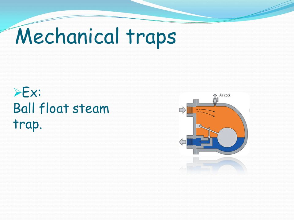 Mechanical traps Ex: Ball float steam trap.