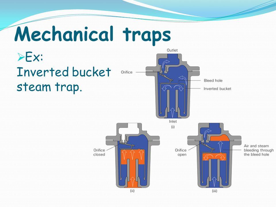Mechanical traps Ex: Inverted bucket steam trap.