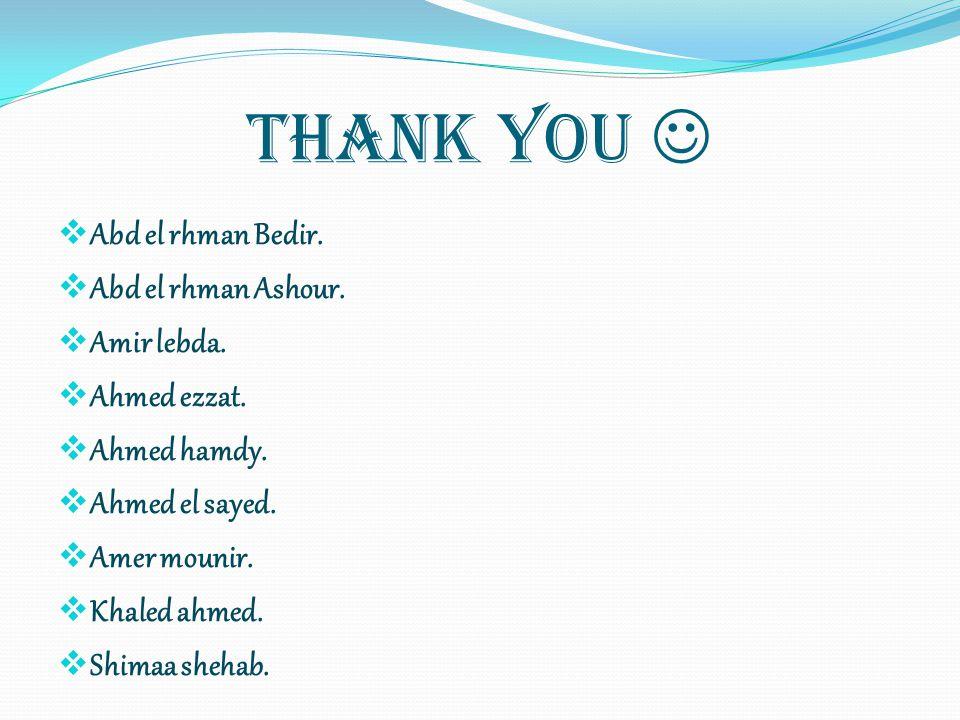 Thank You Abd el rhman Bedir. Abd el rhman Ashour. Amir lebda. Ahmed ezzat. Ahmed hamdy. Ahmed el sayed. Amer mounir. Khaled ahmed. Shimaa shehab.