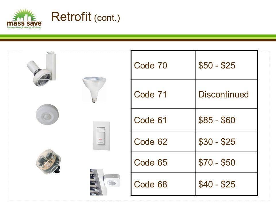 Code 70$50 - $25 Code 71Discontinued Code 61$85 - $60 Code 62$30 - $25 Code 65$70 - $50 Code 68$40 - $25 Retrofit (cont.)