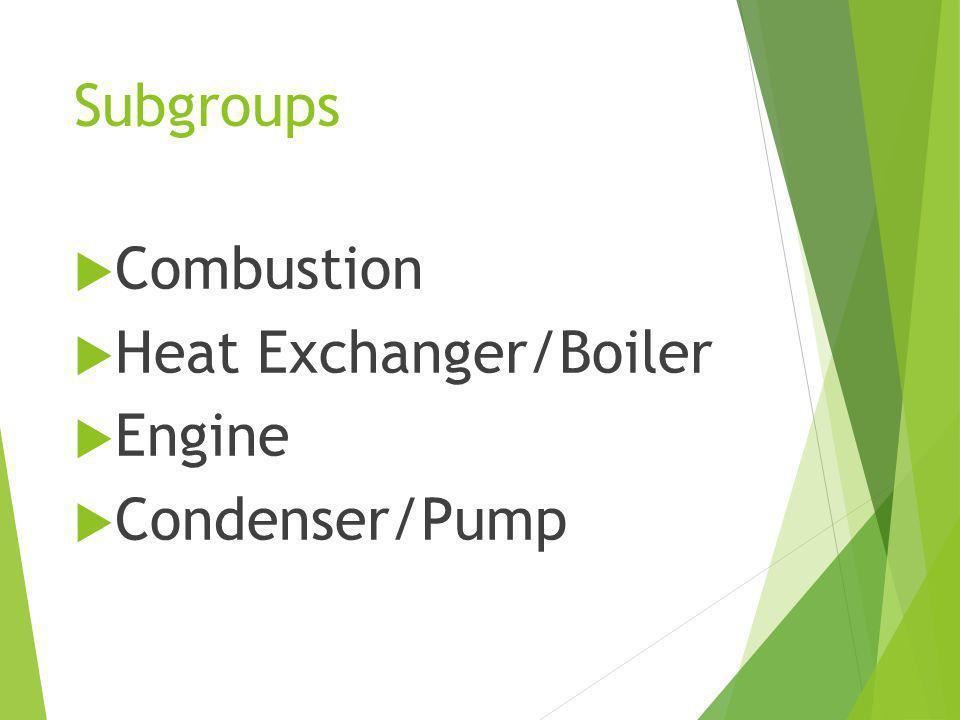Subgroups Combustion Heat Exchanger/Boiler Engine Condenser/Pump