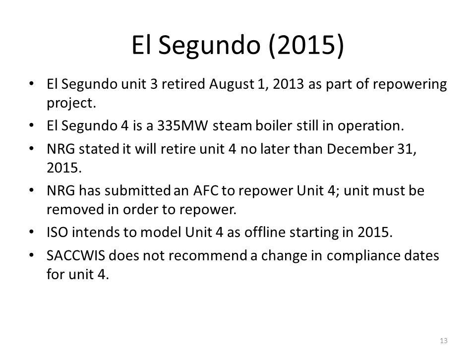 El Segundo (2015) El Segundo unit 3 retired August 1, 2013 as part of repowering project. El Segundo 4 is a 335MW steam boiler still in operation. NRG