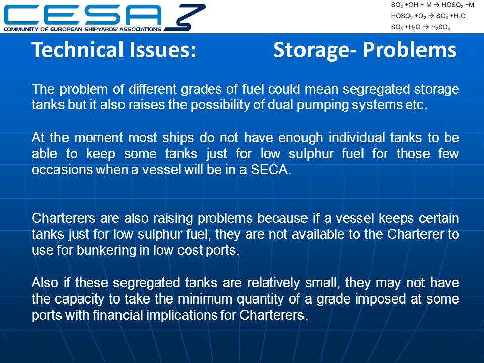 Technical Issues:Storage- Problems The problem of different grades of fuel could mean segregated storage tanks but it also raises the possibility of dual pumping systems etc.