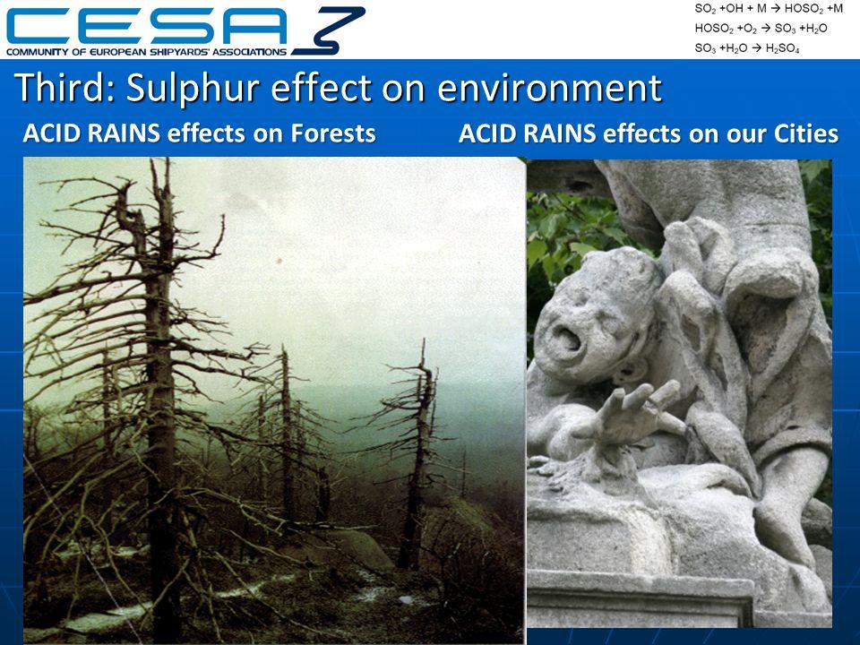 Third: Sulphur effect on environment ACID RAINS effects on Forests ACID RAINS effects on our Cities