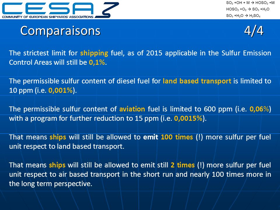 Comparaisons4/4 The strictest limit for shipping fuel, as of 2015 applicable in the Sulfur Emission Control Areas will still be 0,1%.