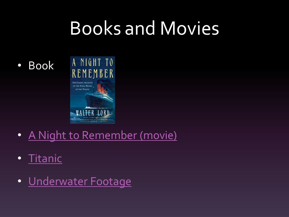 Books and Movies Book A Night to Remember (movie) Titanic Underwater Footage
