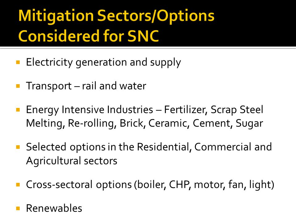 Electricity generation and supply Transport – rail and water Energy Intensive Industries – Fertilizer, Scrap Steel Melting, Re-rolling, Brick, Ceramic