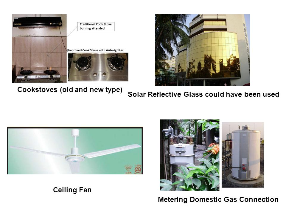 Cookstoves (old and new type) Ceiling Fan Solar Reflective Glass could have been used Metering Domestic Gas Connection