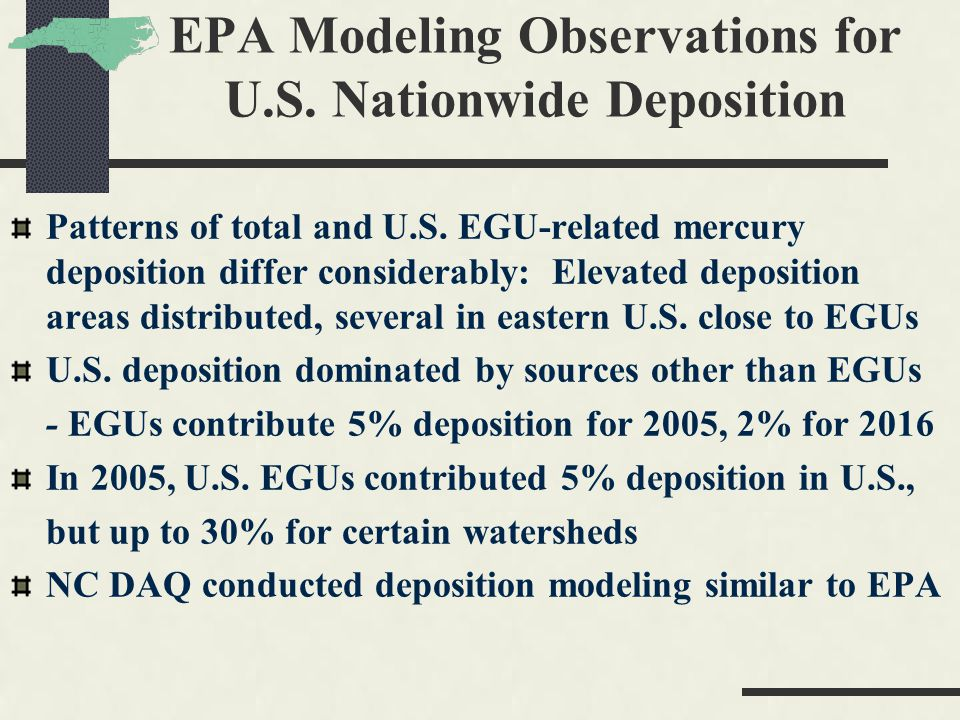 EPA Modeling Observations for U.S. Nationwide Deposition Patterns of total and U.S.