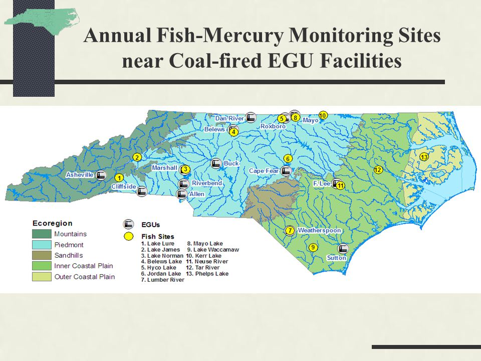 Annual Fish-Mercury Monitoring Sites near Coal-fired EGU Facilities