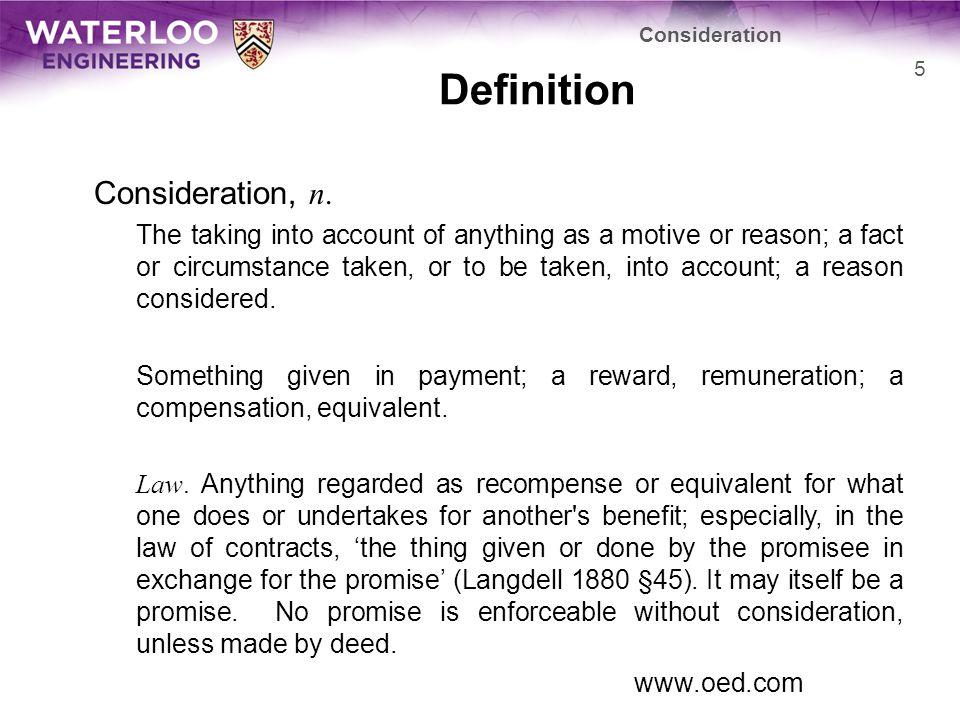 Definition Consideration, n.