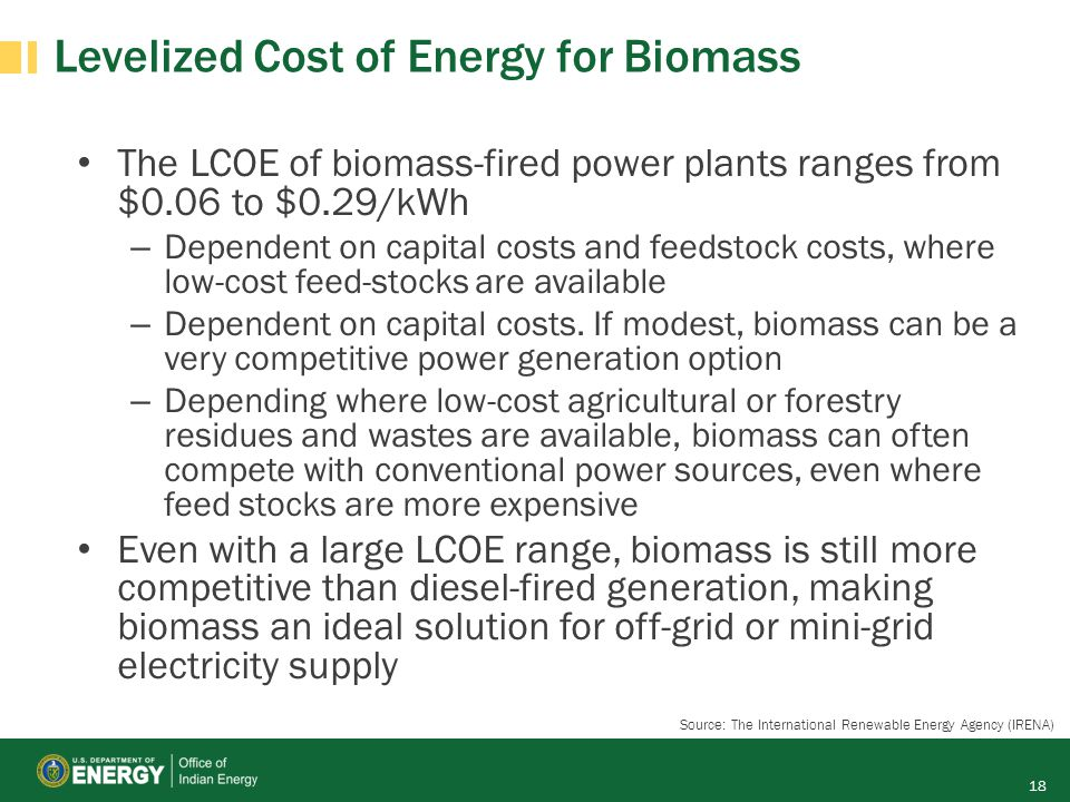 Levelized Cost of Energy for Biomass The LCOE of biomass-fired power plants ranges from $0.06 to $0.29/kWh – Dependent on capital costs and feedstock