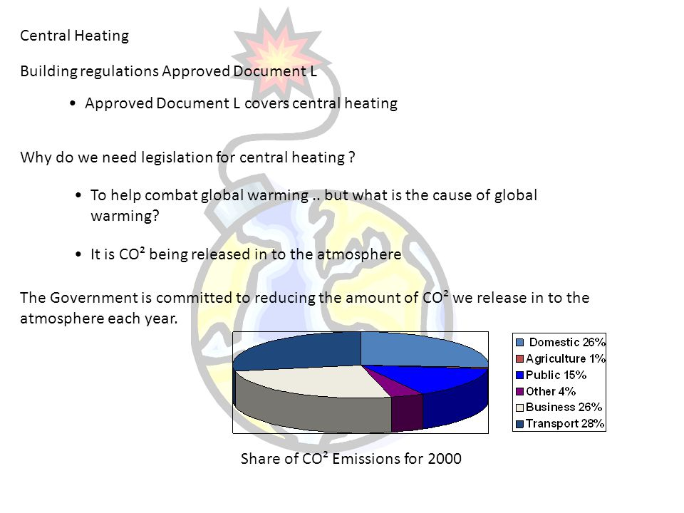 Central Heating Building regulations Approved Document L Approved Document L covers central heating Why do we need legislation for central heating ? T