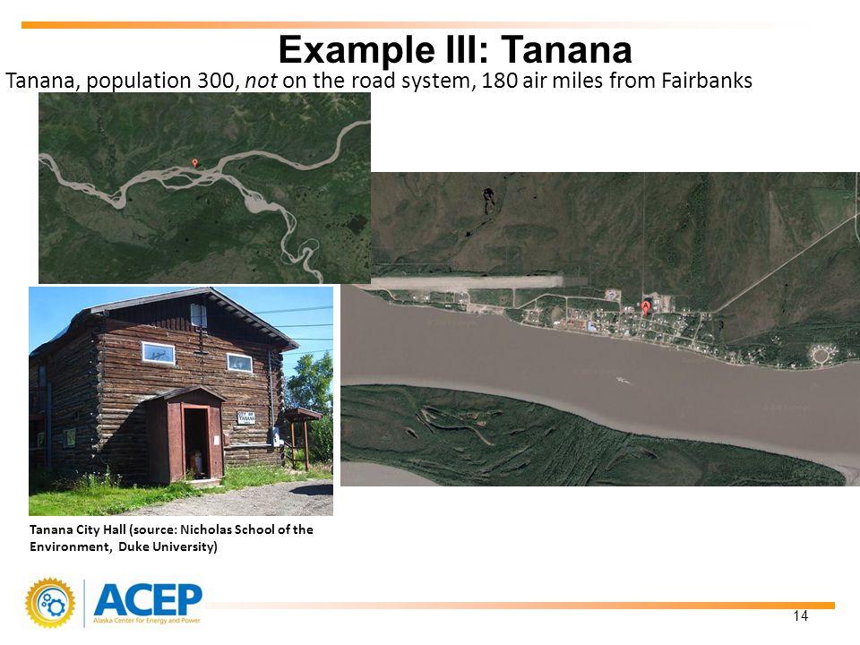 Tanana, population 300, not on the road system, 180 air miles from Fairbanks Example III: Tanana 14 Tanana City Hall (source: Nicholas School of the Environment, Duke University)