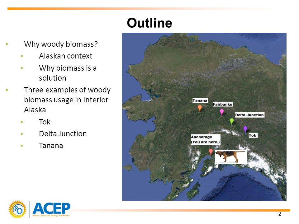 Why woody biomass? Alaskan context Why biomass is a solution Three examples of woody biomass usage in Interior Alaska Tok Delta Junction Tanana Outlin