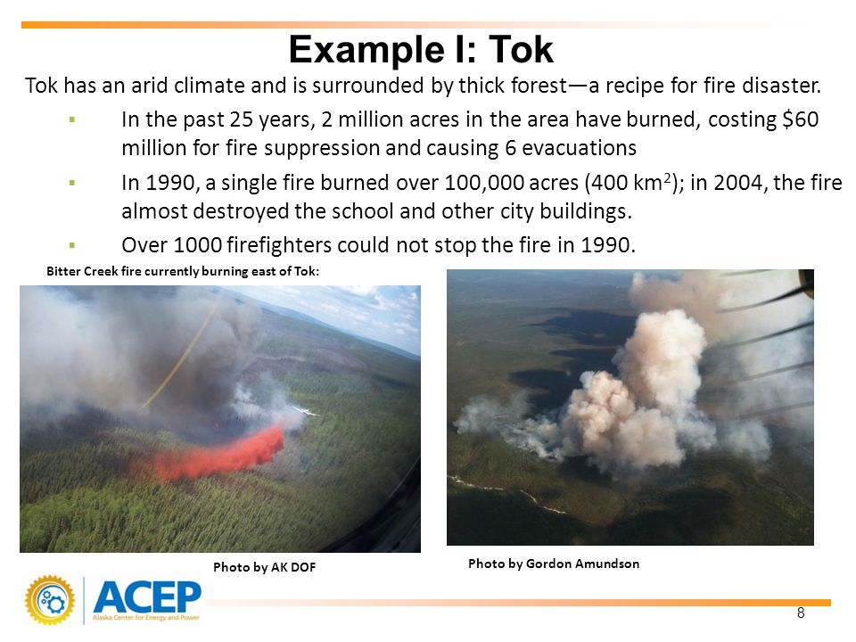 Tok has an arid climate and is surrounded by thick foresta recipe for fire disaster.