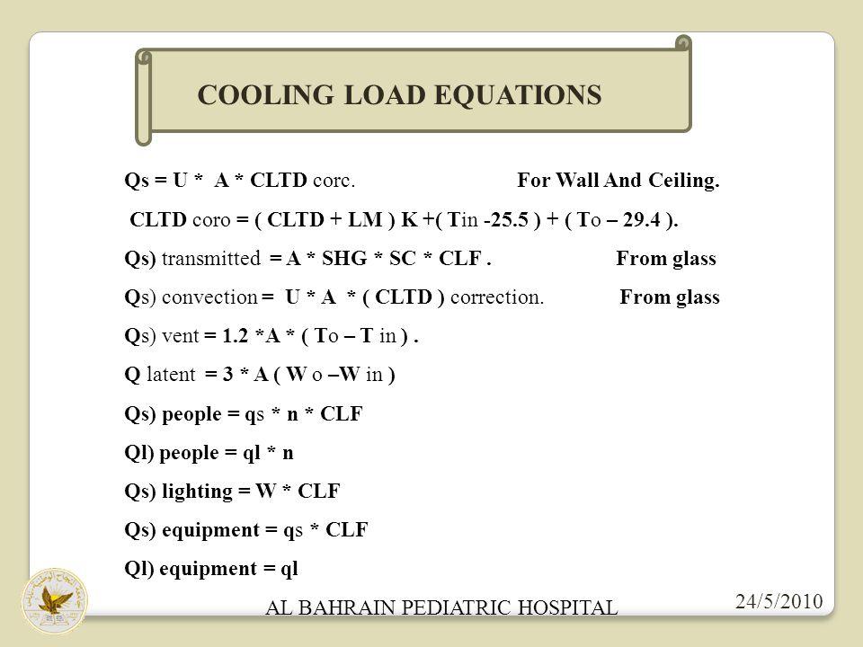 AL BAHRAIN PEDIATRIC HOSPITAL 24/5/2010 COOLING LOAD EQUATIONS Qs = U * A * CLTD corc.