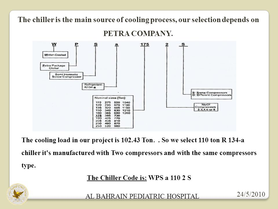 AL BAHRAIN PEDIATRIC HOSPITAL 24/5/2010 The chiller is the main source of cooling process, our selection depends on PETRA COMPANY. The cooling load in