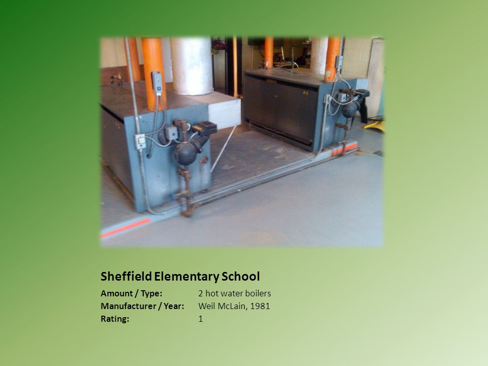 Sheffield Elementary School Amount / Type:2 hot water boilers Manufacturer / Year:Weil McLain, 1981 Rating:1