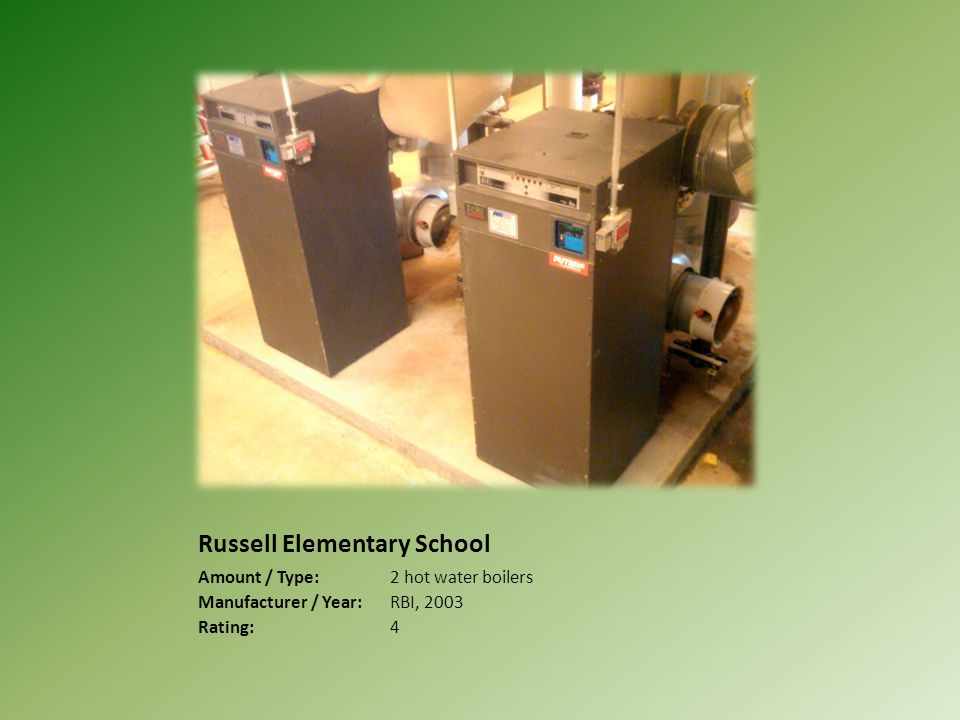 Russell Elementary School Amount / Type:2 hot water boilers Manufacturer / Year:RBI, 2003 Rating:4