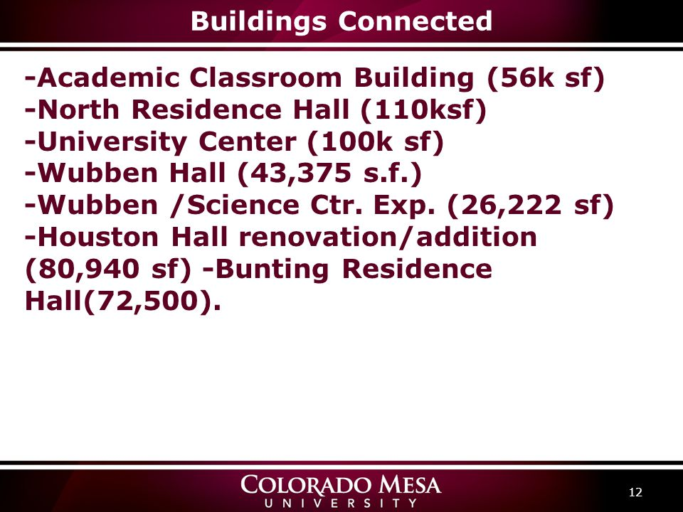 Buildings Connected 12 -Academic Classroom Building (56k sf) -North Residence Hall (110ksf) -University Center (100k sf) -Wubben Hall (43,375 s.f.) -W