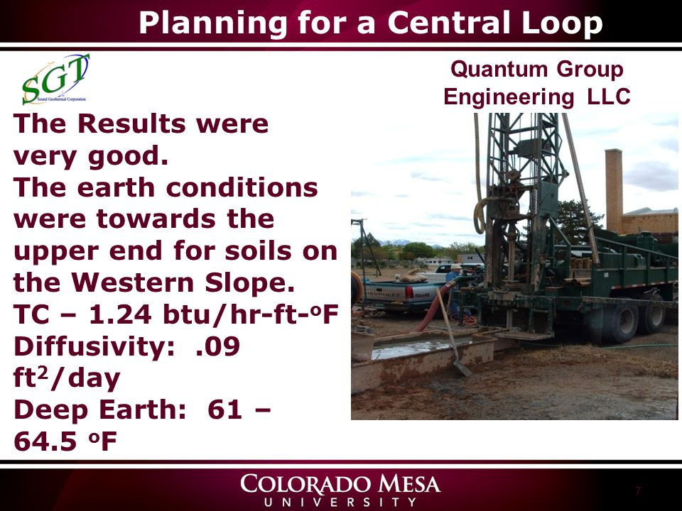 7 Quantum Group Engineering LLC The Results were very good. The earth conditions were towards the upper end for soils on the Western Slope. TC – 1.24