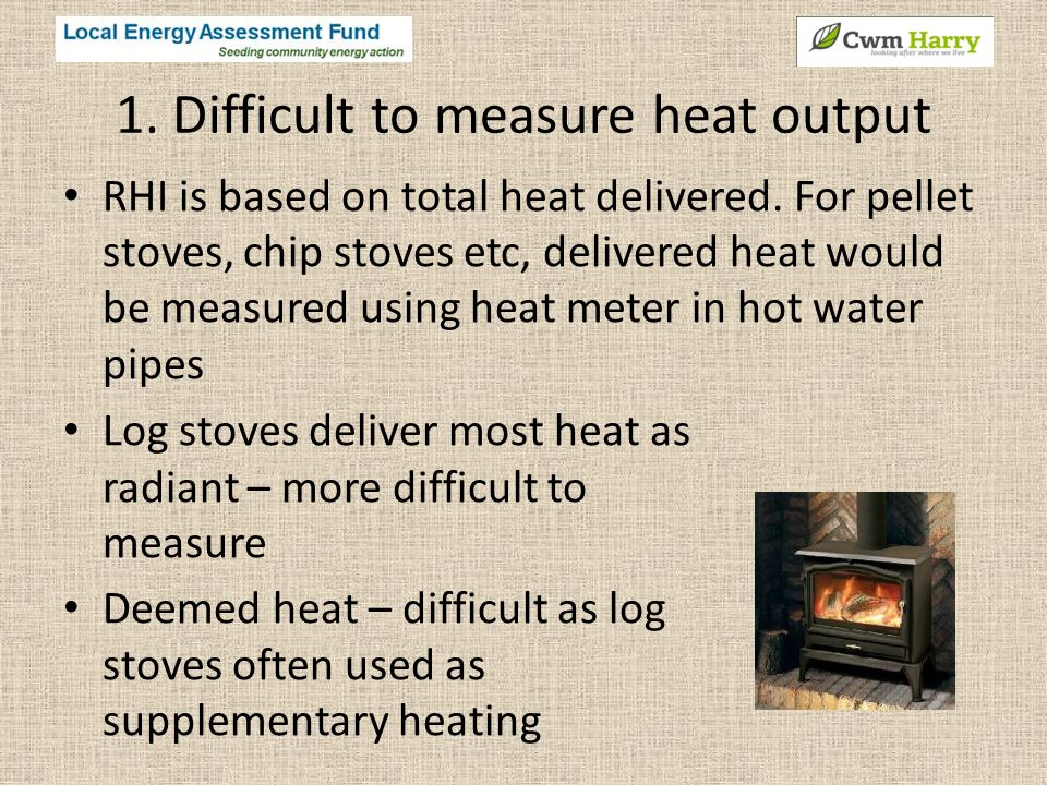 1. Difficult to measure heat output RHI is based on total heat delivered.