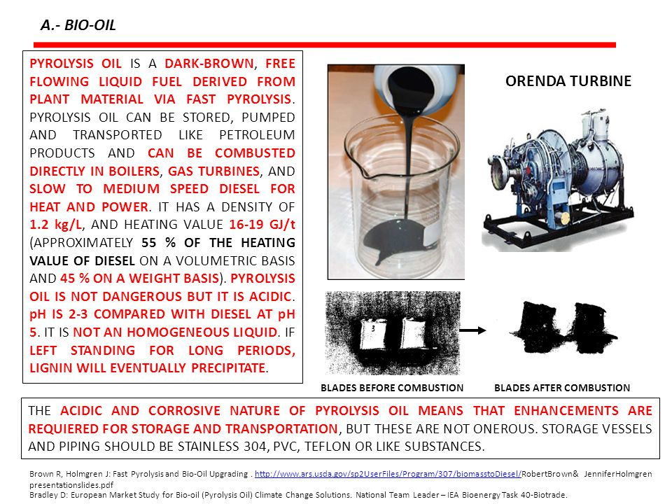 DIRECT USE AS A FUEL A.- BIO-OIL THE CRUDE BIO-OIL CAN BE USED FOR THE GENERATION OF HEAT AND ELECTRICAL POWER.