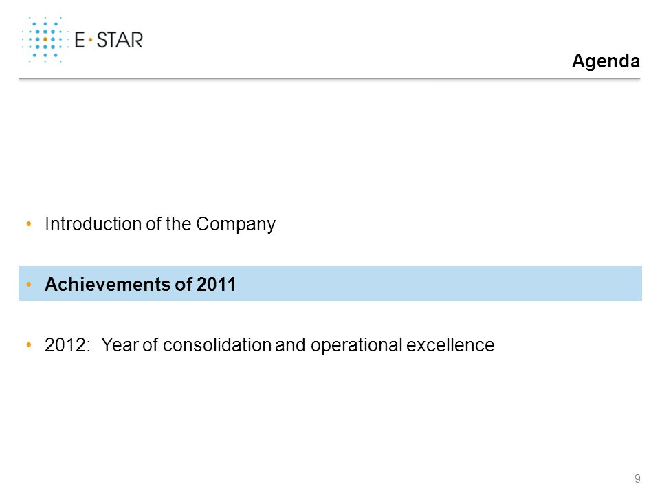 Agenda 9 Introduction of the Company Achievements of 2011 2012: Year of consolidation and operational excellence