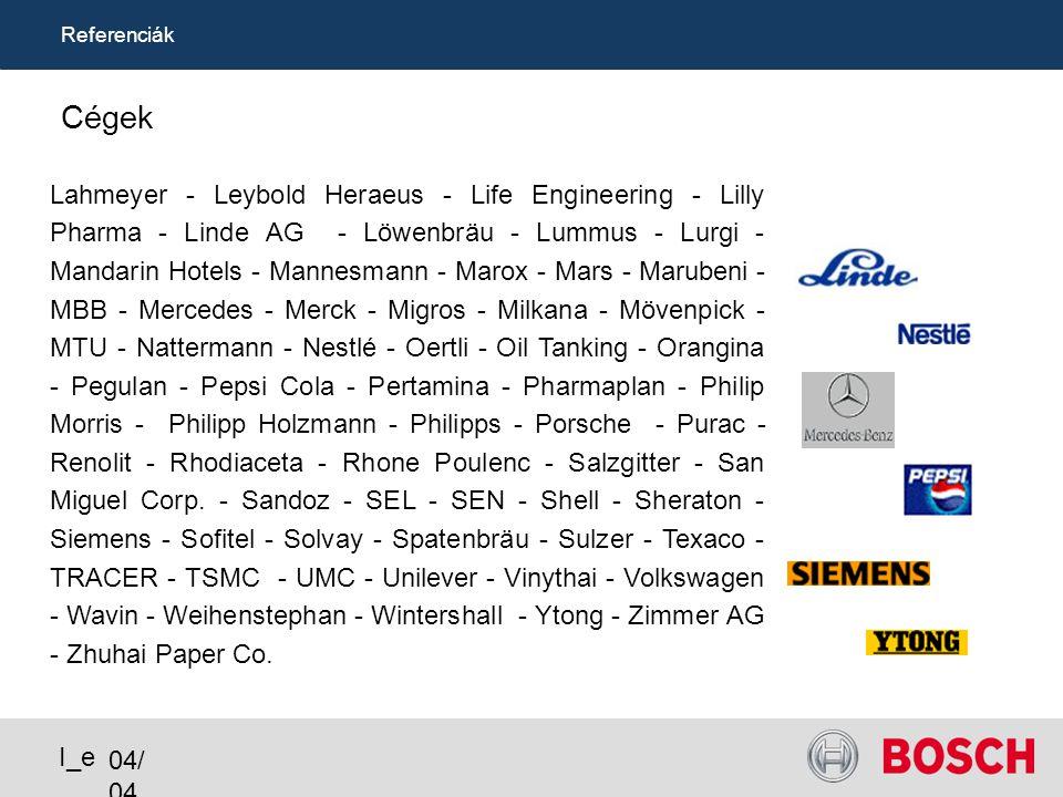 Referenciák Cégek ACER - AGIP - Airbus - Ajinomoto - Alcatel - Alfa Laval - APEX - APV - B.A.T. Industries Group - B. Braun - Babcock - Bayer - BdF -