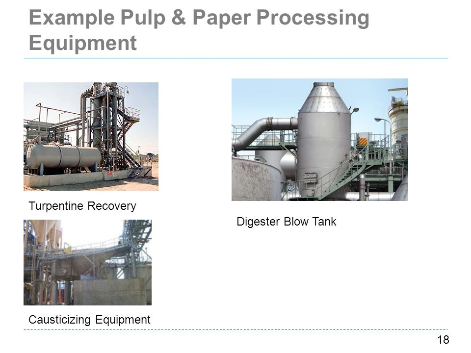 Example Pulp & Paper Processing Equipment 18 Turpentine Recovery Causticizing Equipment Digester Blow Tank