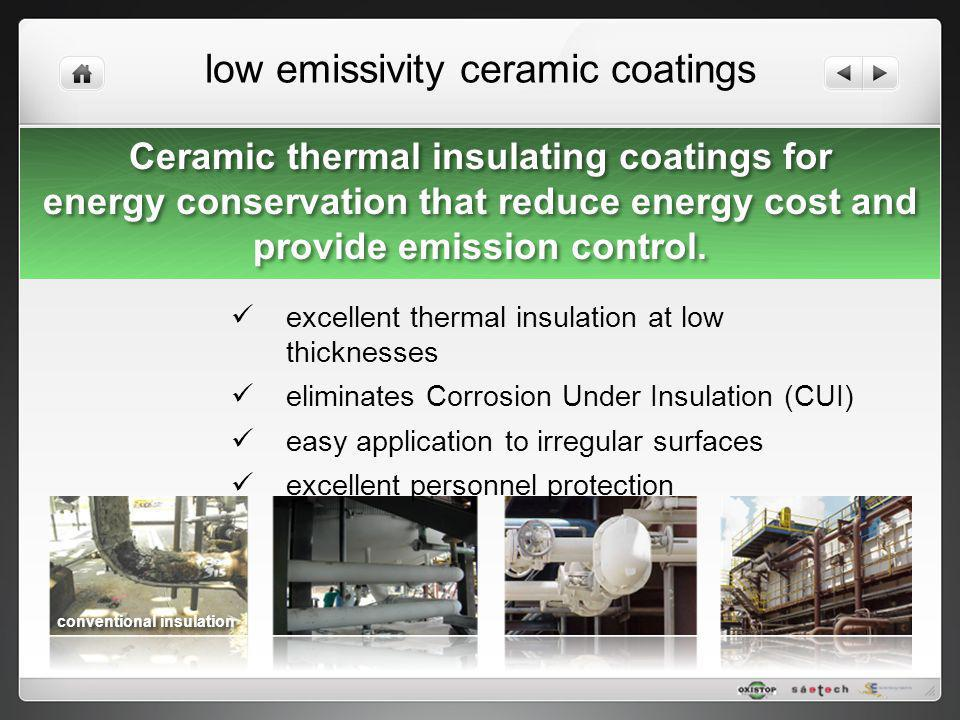 low emissivity ceramic coatings excellent thermal insulation at low thicknesses eliminates Corrosion Under Insulation (CUI) easy application to irregu