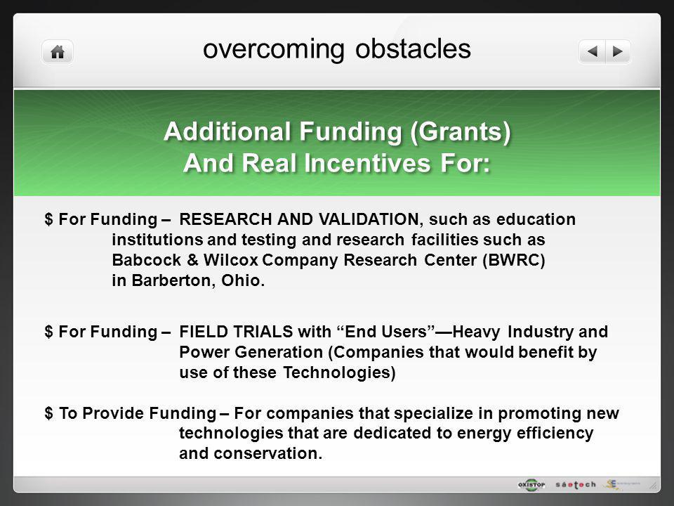 overcoming obstacles Additional Funding (Grants) And Real Incentives For: Additional Funding (Grants) And Real Incentives For: $ For Funding – RESEARC