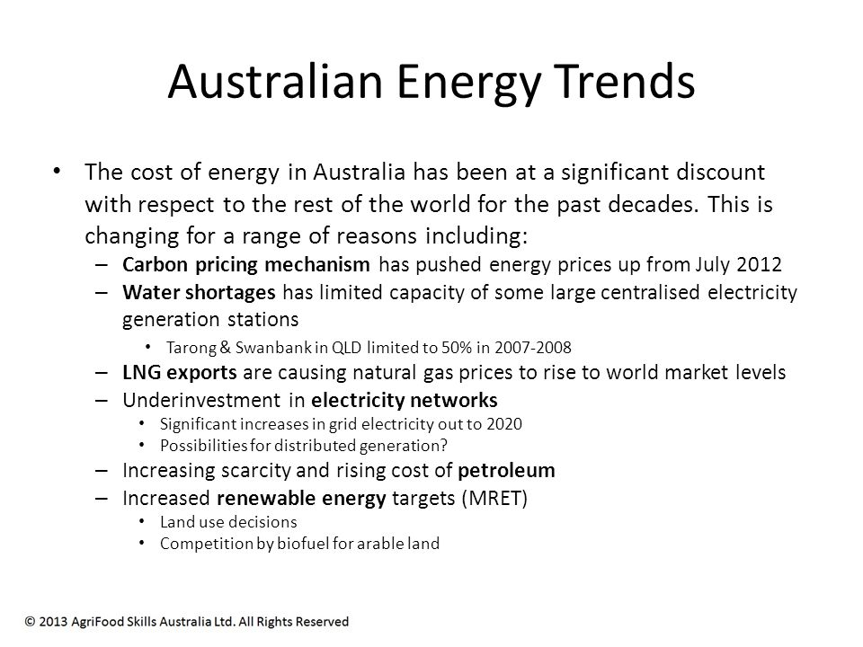 © 2013 Energetics Pty Ltd and AgriFood Skills Australia.