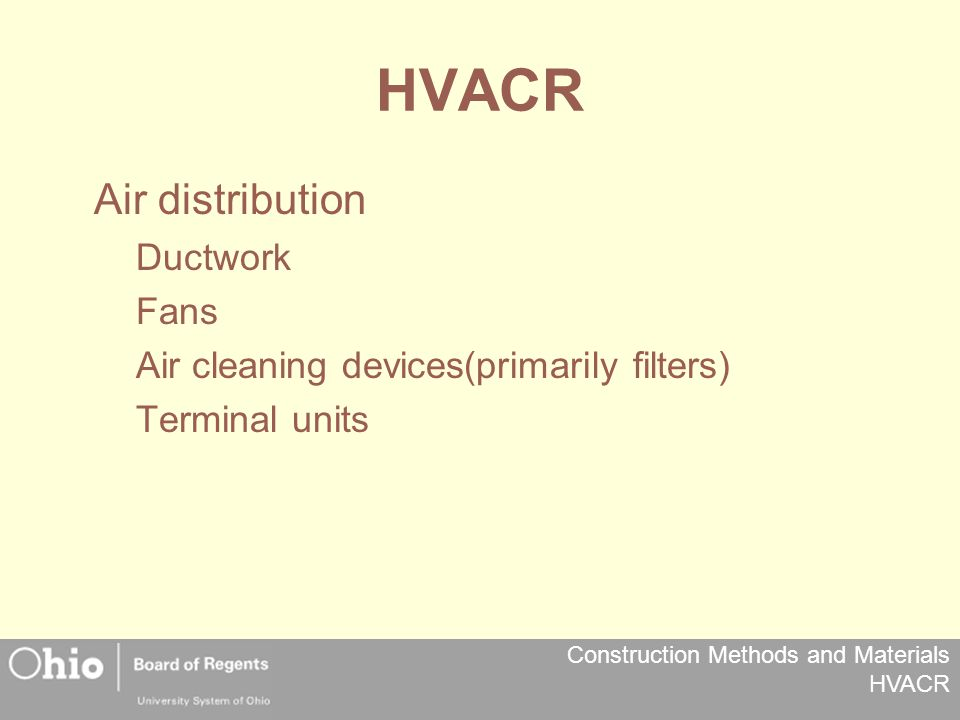 Construction Methods and Materials HVACR HVACR Air distribution Ductwork Fans Air cleaning devices(primarily filters) Terminal units