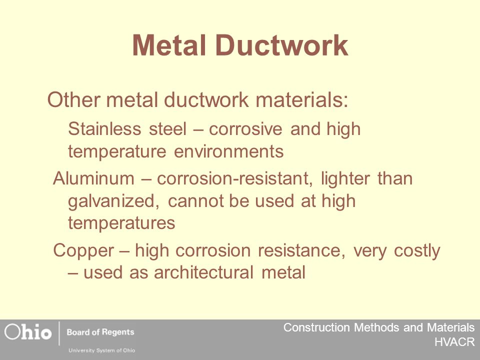 Construction Methods and Materials HVACR Metal Ductwork Other metal ductwork materials: Stainless steel – corrosive and high temperature environments Aluminum – corrosion-resistant, lighter than galvanized, cannot be used at high temperatures Copper – high corrosion resistance, very costly – used as architectural metal