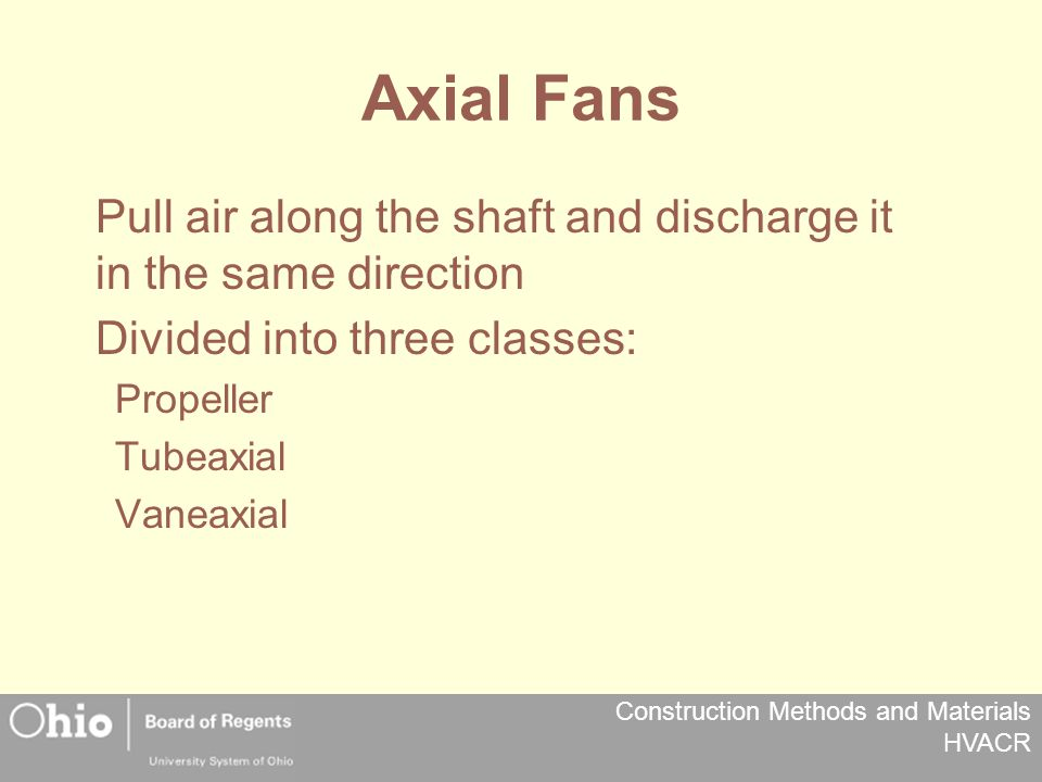 Construction Methods and Materials HVACR Axial Fans Pull air along the shaft and discharge it in the same direction Divided into three classes: Propeller Tubeaxial Vaneaxial