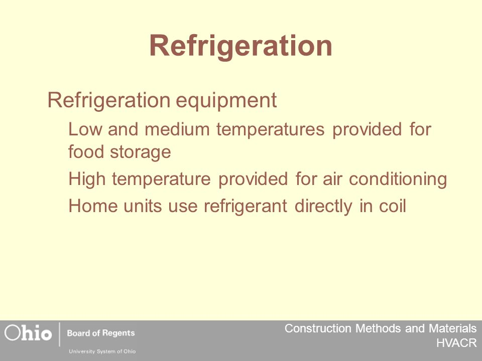 Construction Methods and Materials HVACR Refrigeration Refrigeration equipment Low and medium temperatures provided for food storage High temperature provided for air conditioning Home units use refrigerant directly in coil