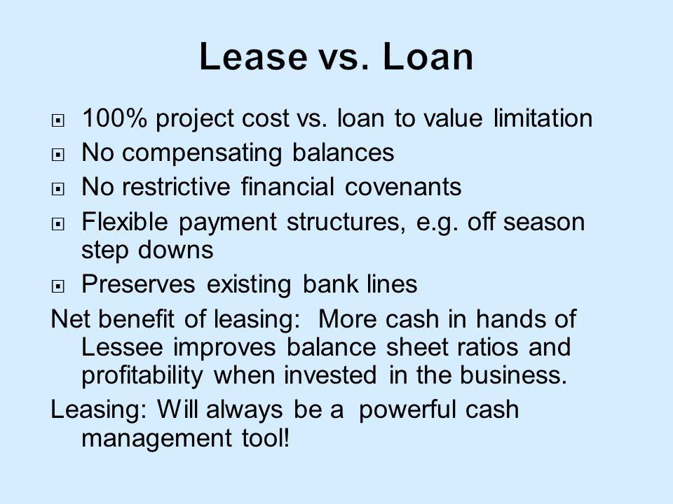 100% project cost vs. loan to value limitation No compensating balances No restrictive financial covenants Flexible payment structures, e.g. off seaso